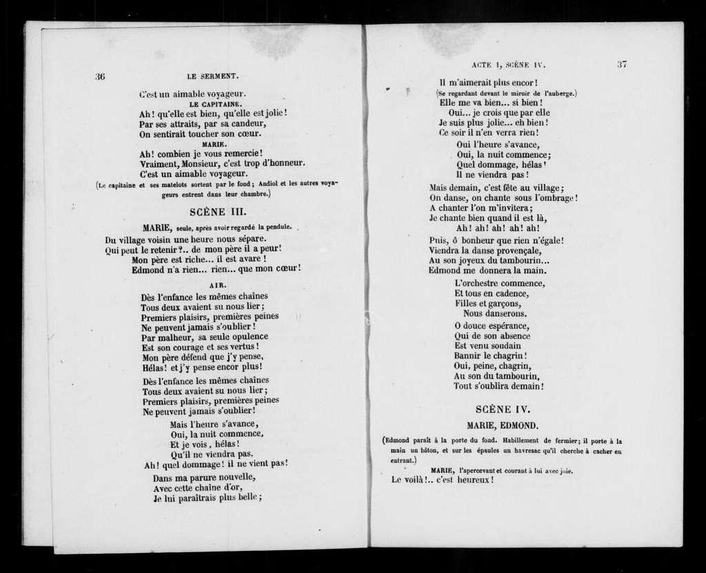 Serment. Libretto. French