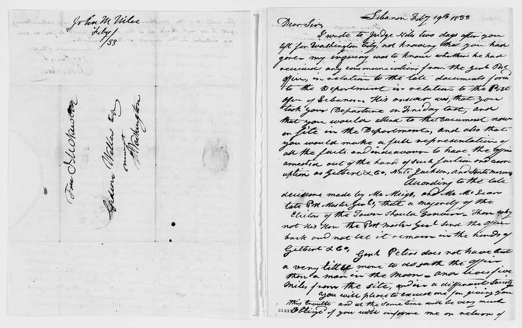 Gideon Welles Papers: Correspondence, 1820-1878; 1833, Jan.-Aug