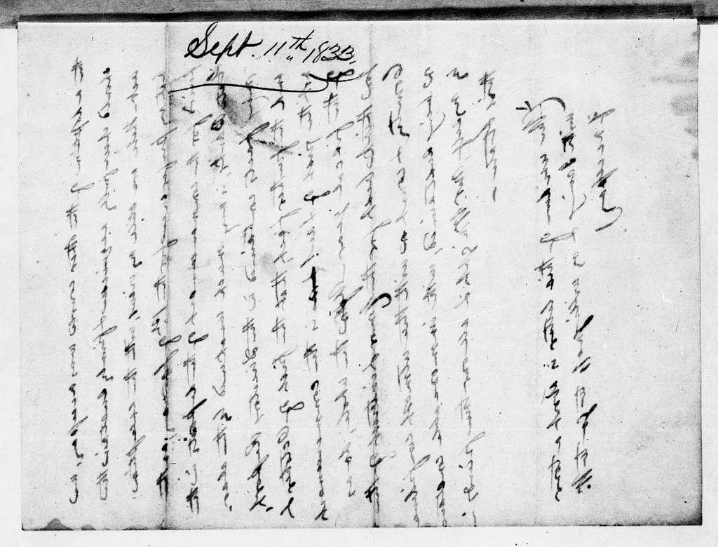 Martin Van Buren Papers: Series 2, General Correspondence, 1787-1868; 1833; 1833, Jan. 11 - Sept. 15