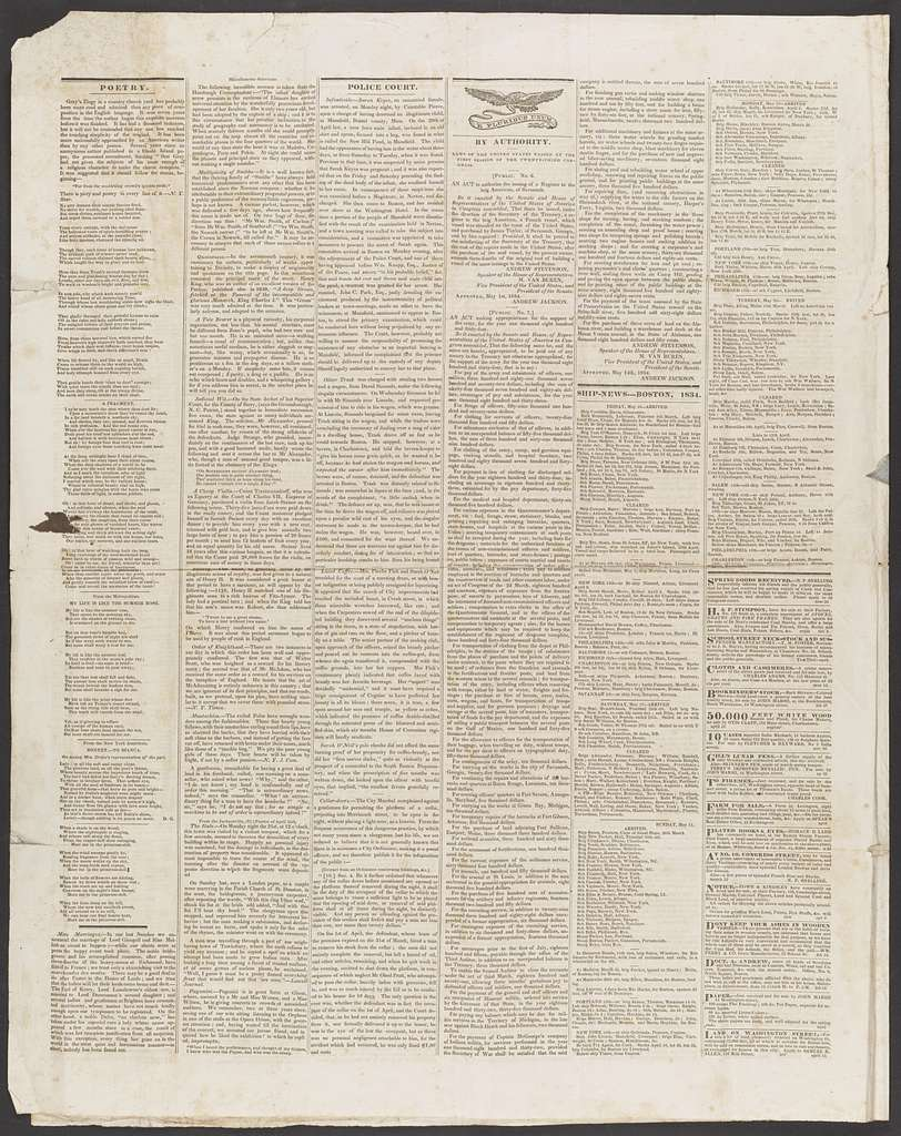 James K. Polk Papers: Oversize, 1832-1886; Newspapers (Container 10:4); Boston Statesman, 1834, May 24