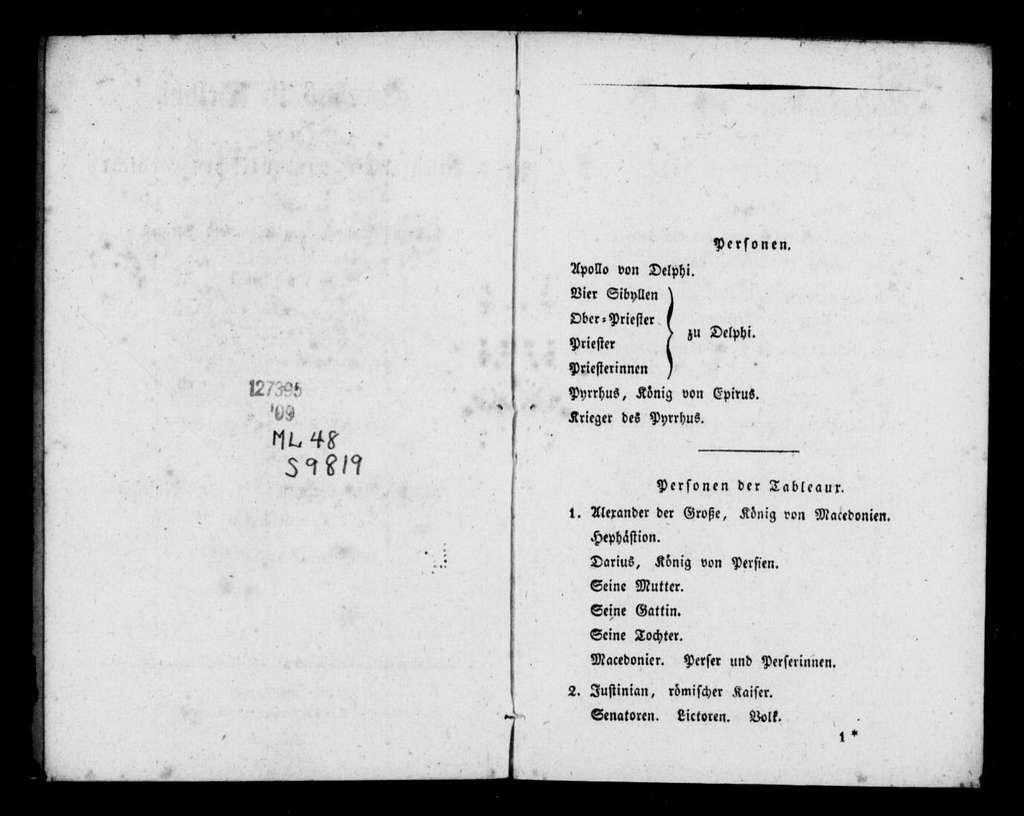 Pyrrhus in Delphi. Libretto. German