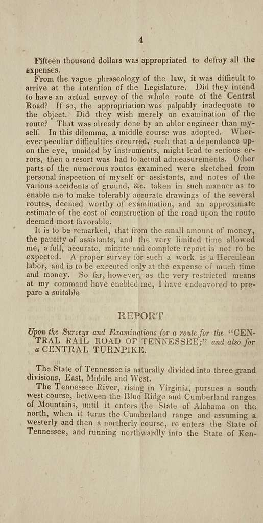 Report of the chief engineer of the state of Tennessee on the surveys and examinations for the Central rail road, and for the Central turnpike