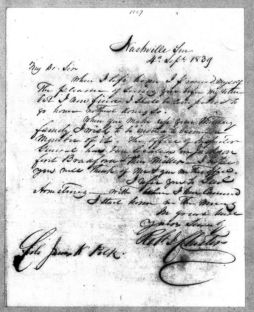 James K. Polk Papers: Series 2, General Correspondence and Related Items, 1775-1849; 1839, Mar. 27-1839, Sept. 12