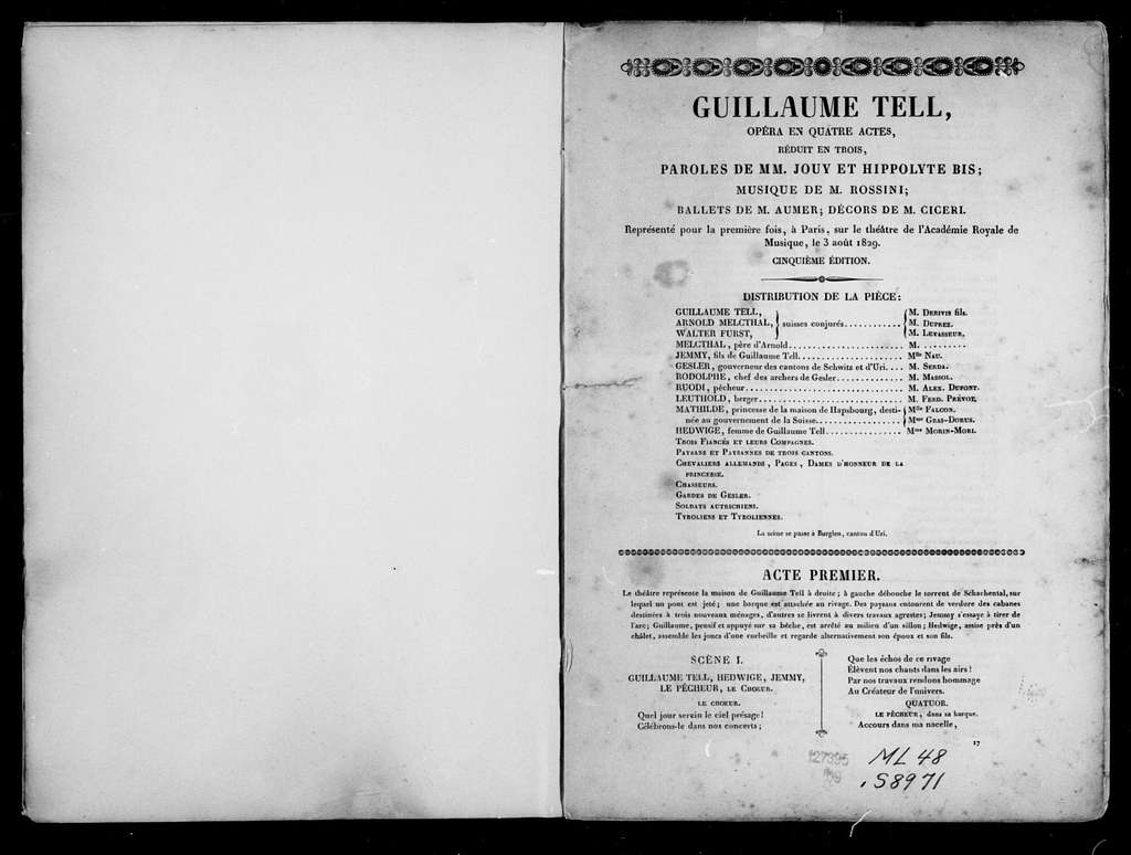 Guillaume Tell. Libretto. French