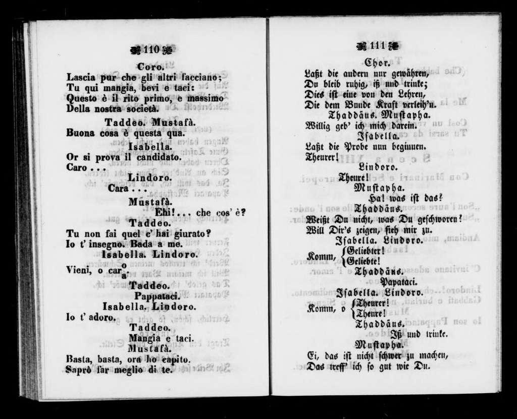 Italiana in Algeri. Libretto. German & Italian