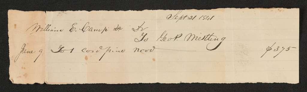 Thaddeus Stevens Papers: Legal File, 1825-1867; William E. Camp Estate,; 1841