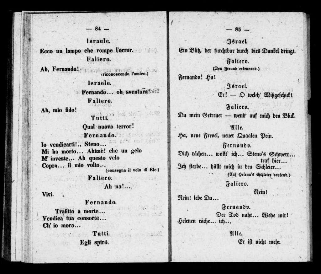 Marino Faliero. Libretto. German & Italian