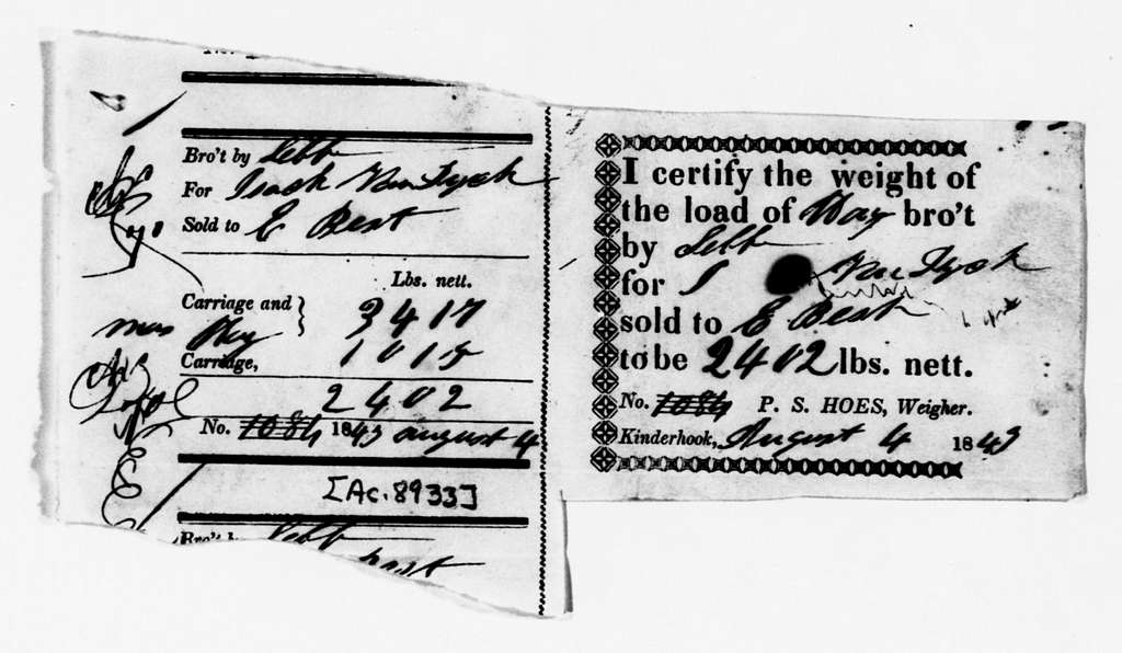 Martin Van Buren Papers: Series 3, Additional Correspondence, 1811-1853; Originals; 1843