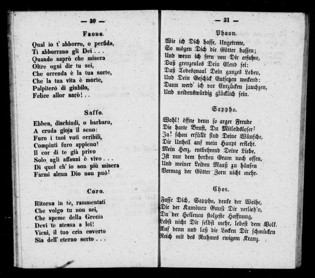 Saffo. Libretto. Italian