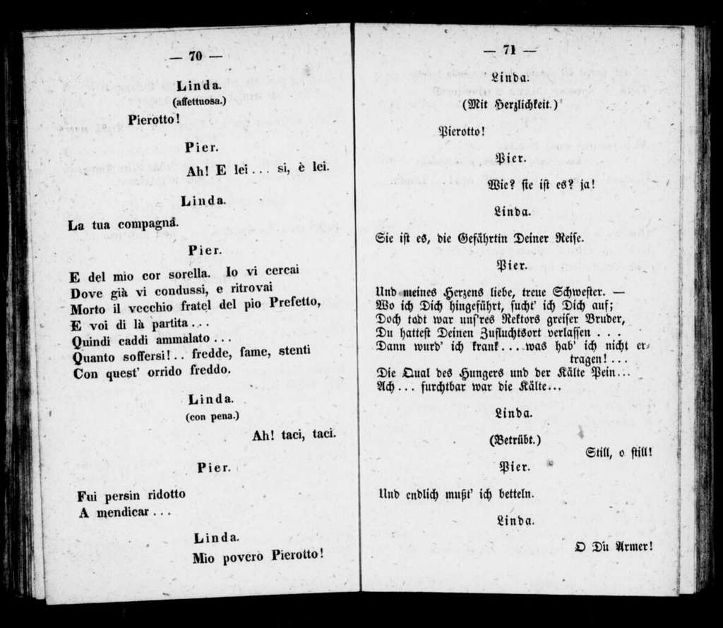 Linda di Chamounix. Libretto. German & Italian