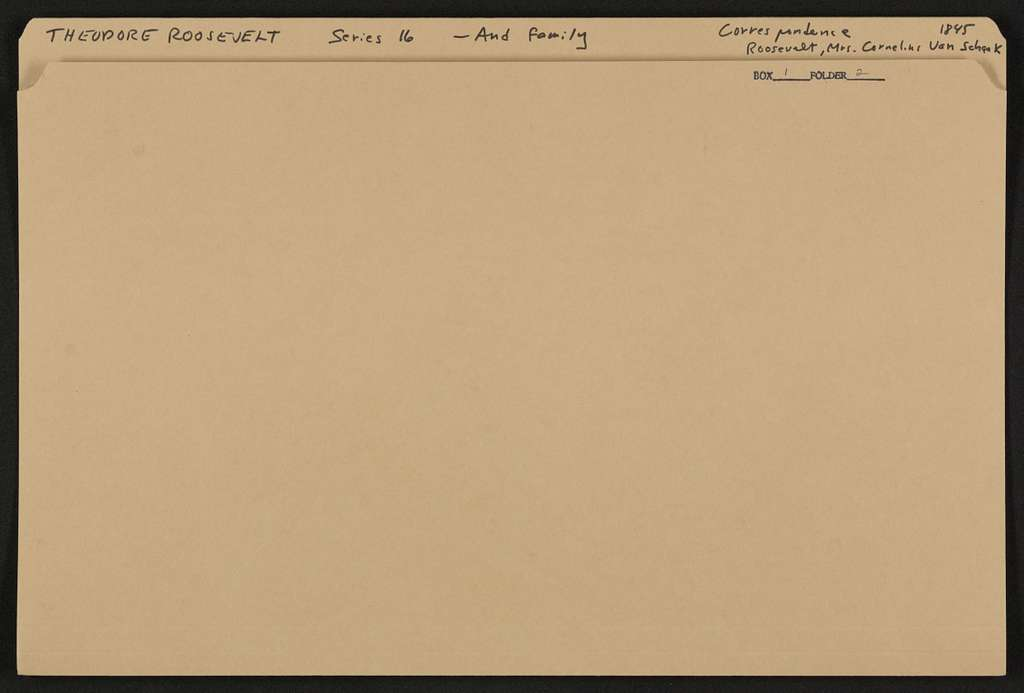 Theodore Roosevelt Papers: Series 16: Additions, 1760-1993; Addition I, 1760-1930; Family papers; Correspondence; Roosevelt, Margaret Barnhill (Mrs. Cornelius Van Schaack), 1845