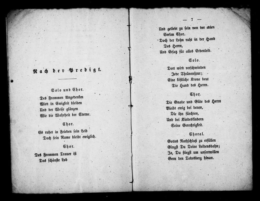 Funeral anthem for Queen Caroline. Libretto. German