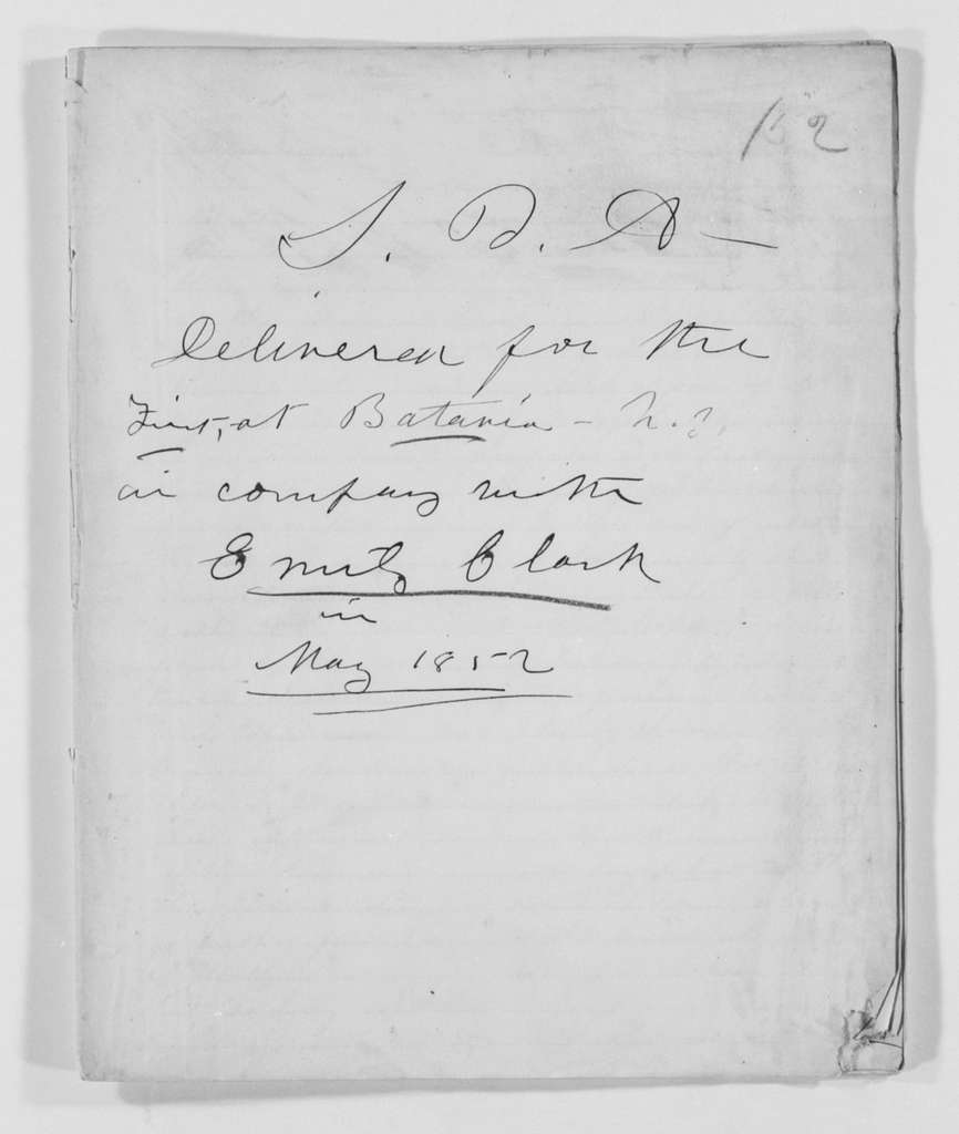 Susan B. Anthony Papers: Speeches and Writings, 1848-1895; 1852 , speech delivered at Batavia, N.Y., in company with Emily Clark (2 copies)