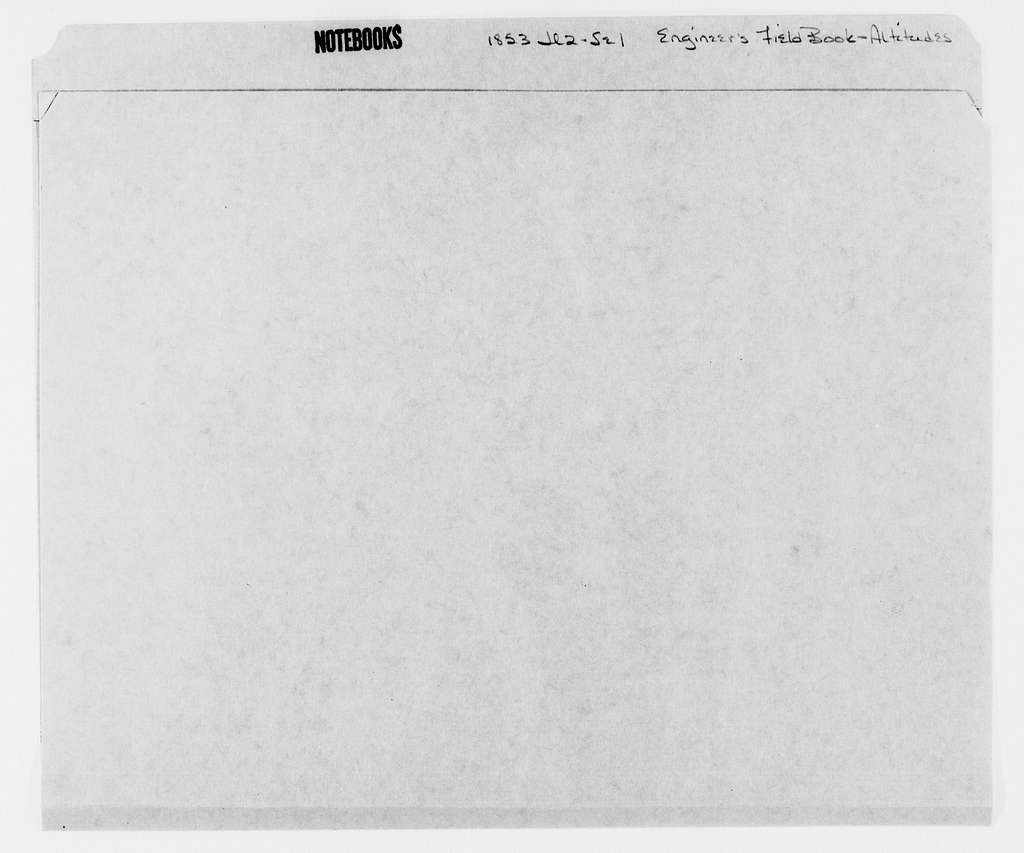 George Brinton McClellan Papers: Notebooks, 1842-1885; Engineer's field books; Altitudes, 1853; July 2-Sept. 1