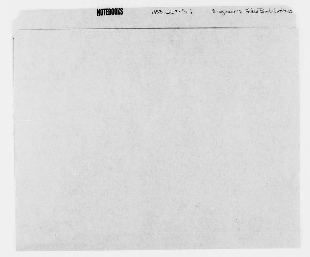 George Brinton McClellan Papers: Notebooks, 1842-1885; Engineer's field books; Latitude, 1853; July 8-Sept. 1