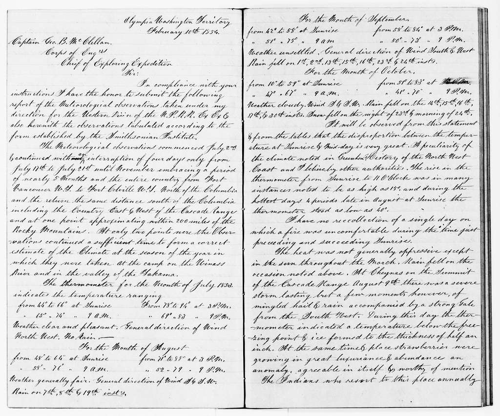 George Brinton McClellan Papers: Letterbooks and Telegram Books, 1852-1862; Reports, 1854