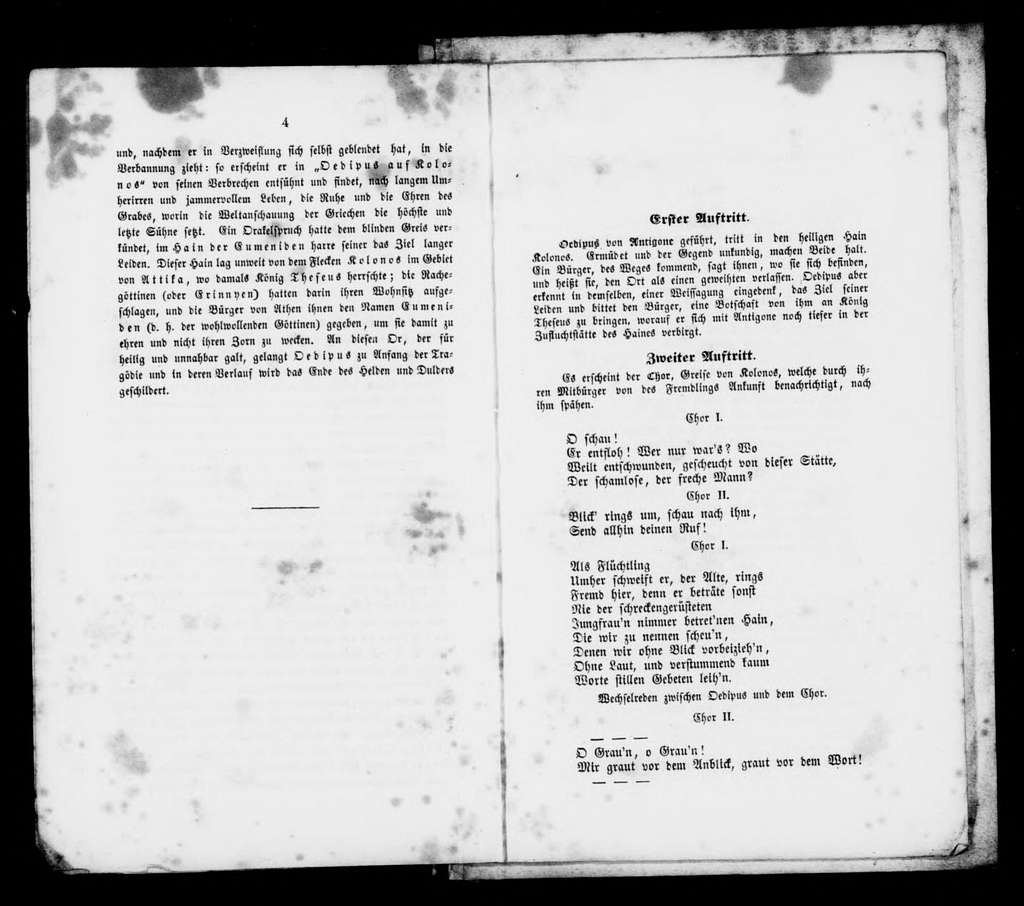 Oedipus in Kolonos. Libretto