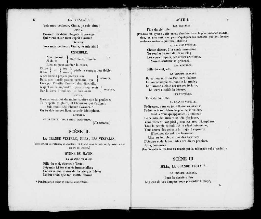 Vestale. Libretto. French