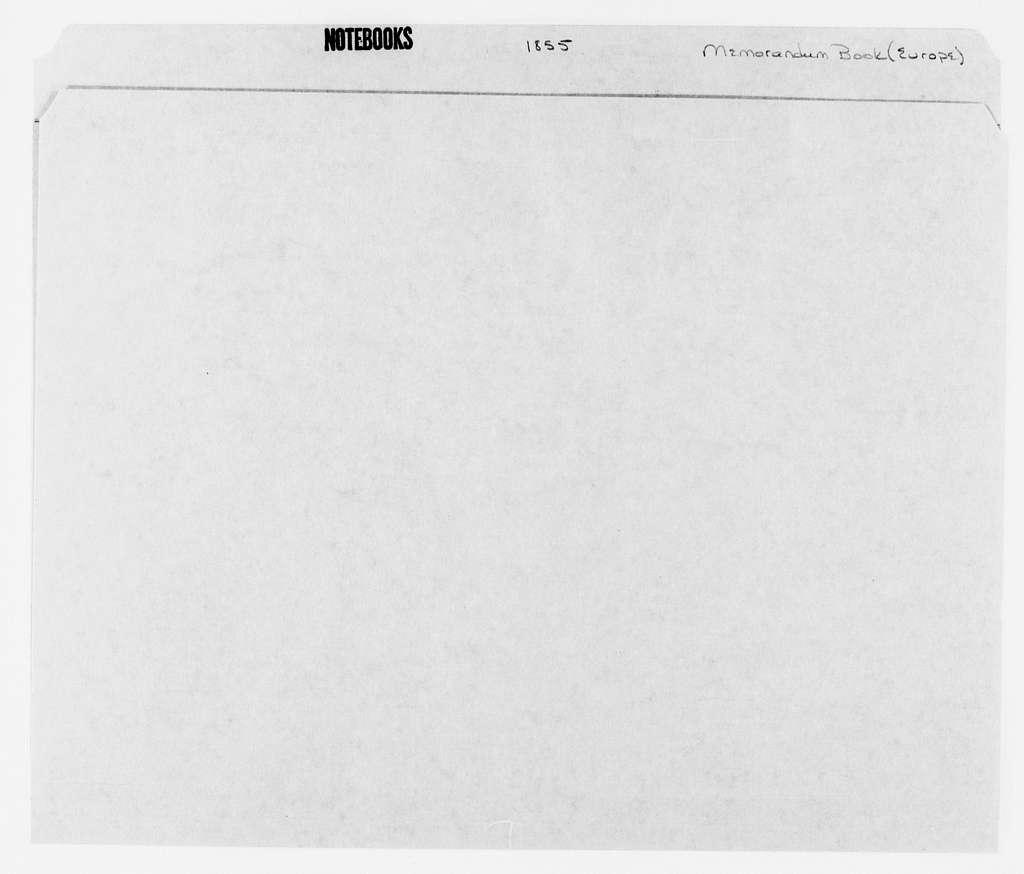 George Brinton McClellan Papers: Notebooks, 1842-1885; Memorandum book of Europe, 1855
