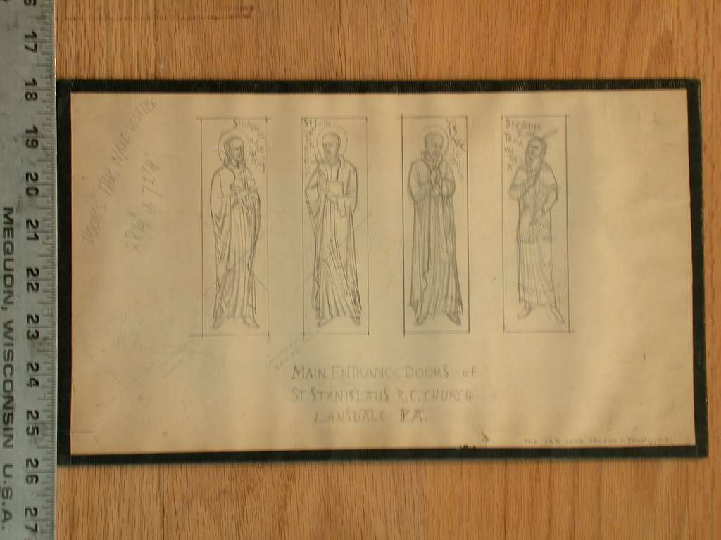 Design drawing for main entrance doors showing four saints, including St. Catherine Tekawitha in Native American dress for St Stanislaus Roman Catholic Church in Lansdale, Pennsylvania