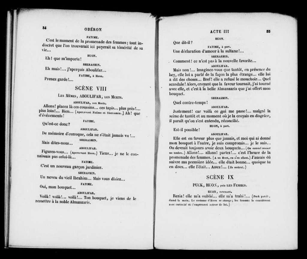 Oberon. Libretto. French