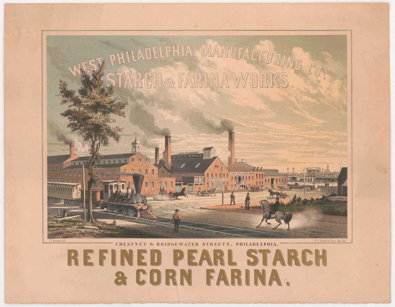West Philadelphia Manufacturing Cos. starch & sarina works Js. Queen del. ; P.S. Duval & Son's Lith. Phila