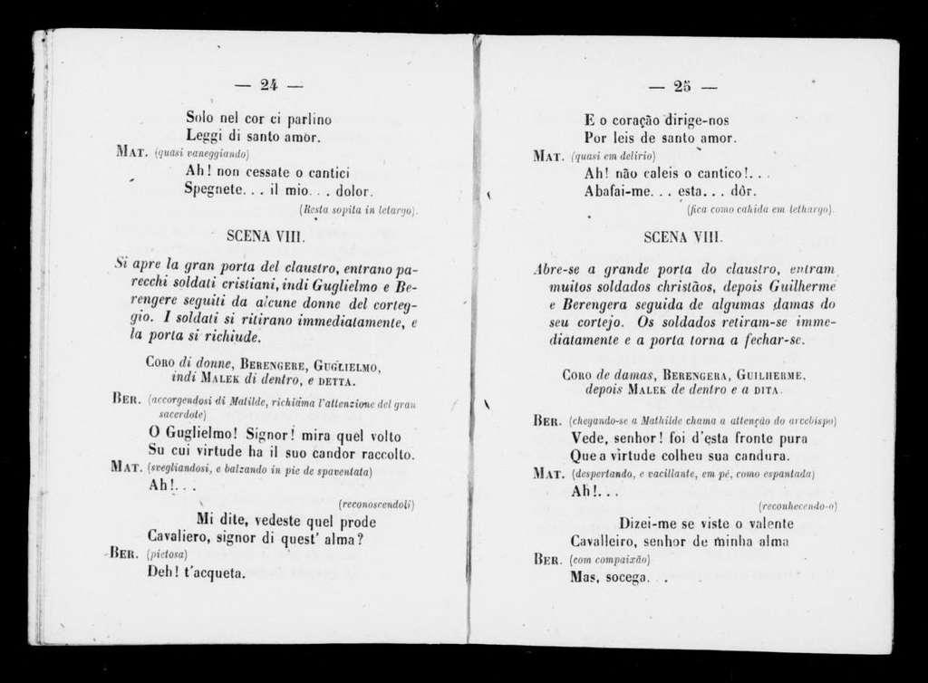Malek-Adhel. Libretto. Portuguese & Italian