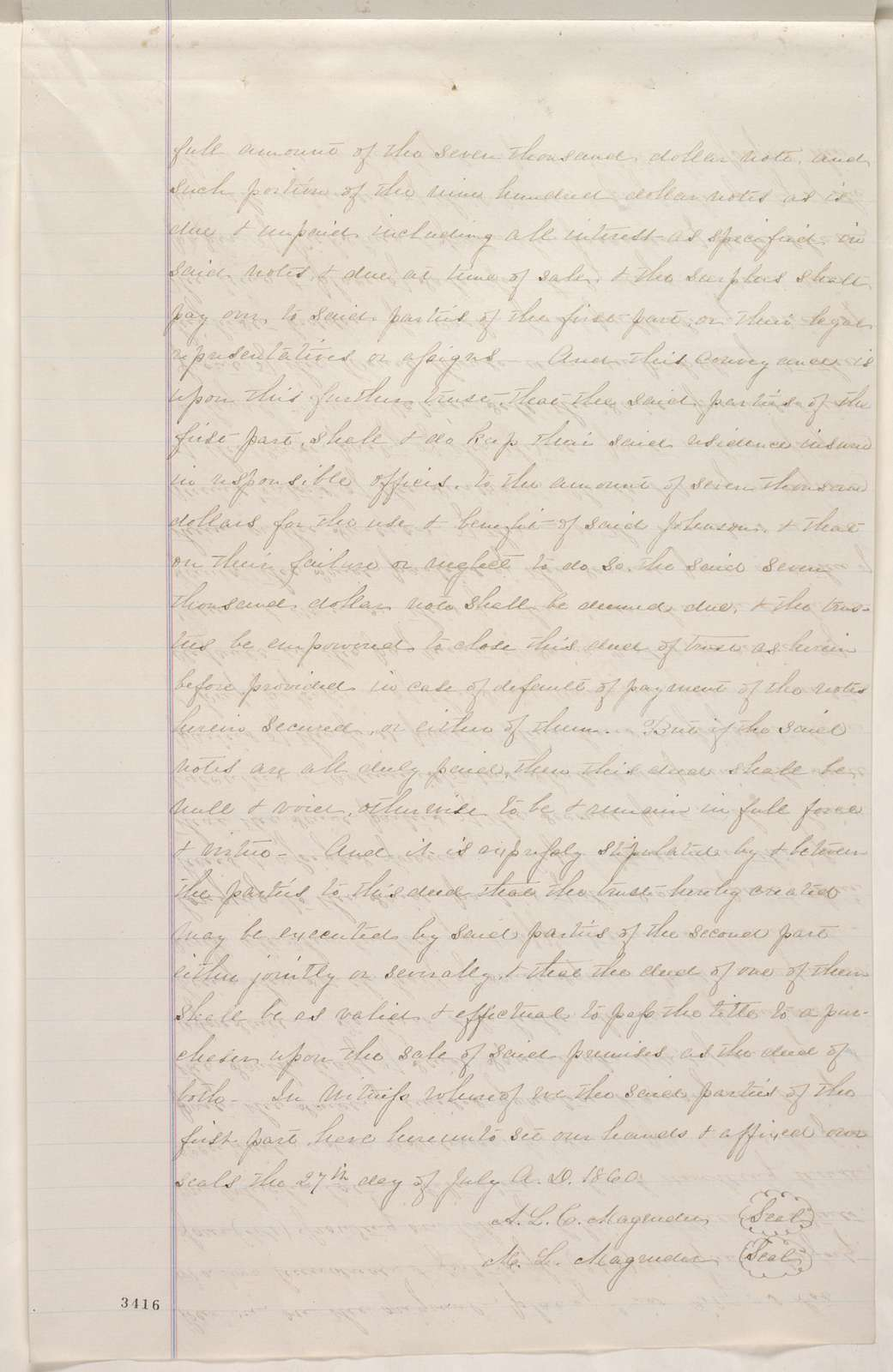 Abraham Lincoln papers: Series 1. General Correspondence. 1833-1916: A. L. C. Magruder and Maria Louisa Magruder, Wednesday, August 29, 1860 (Extract of deed)