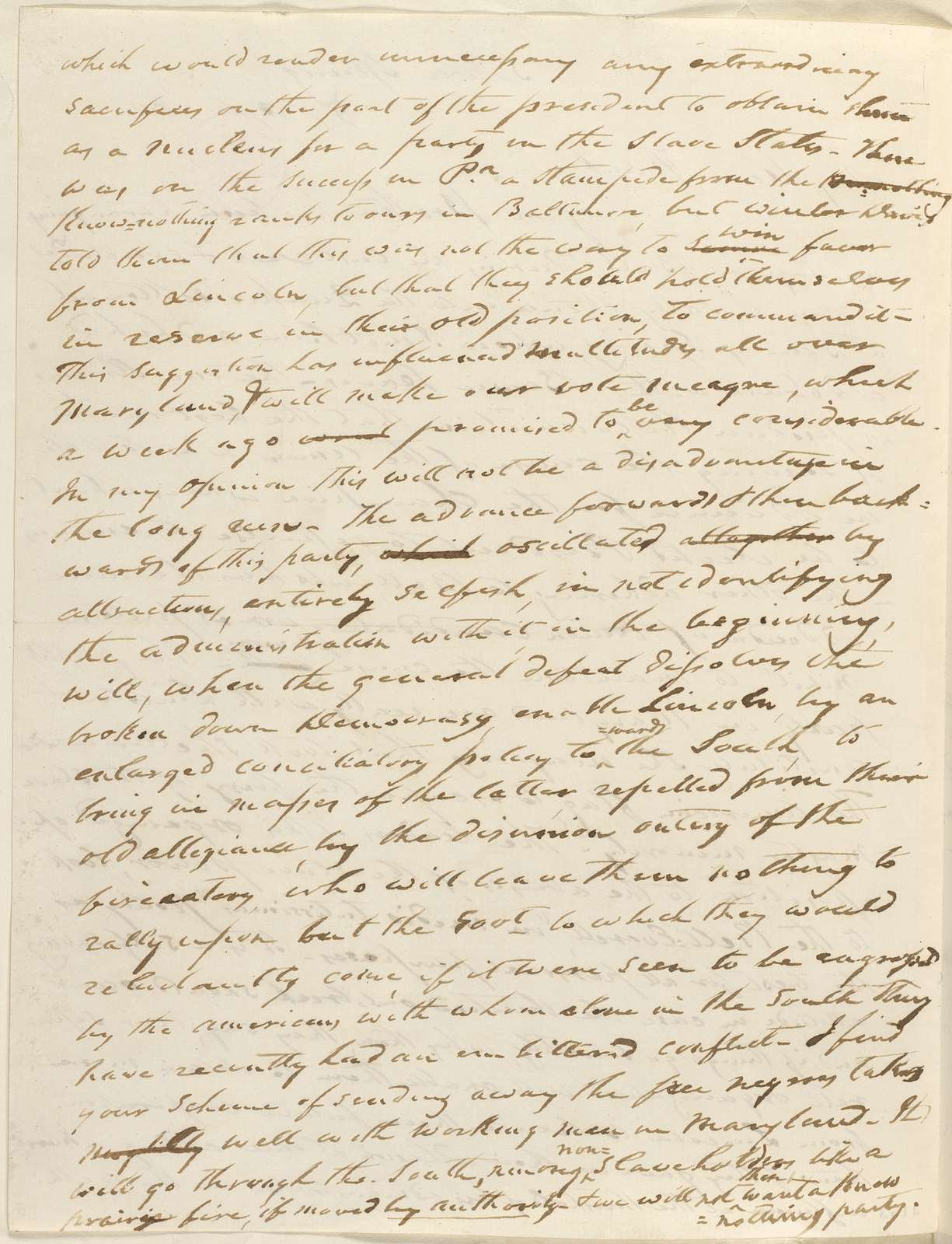 Abraham Lincoln papers: Series 1. General Correspondence. 1833-1916: Francis P. Blair Sr. to Francis P. Blair Jr., Saturday, October 27, 1860 (Cabinet appointments and other political affairs)