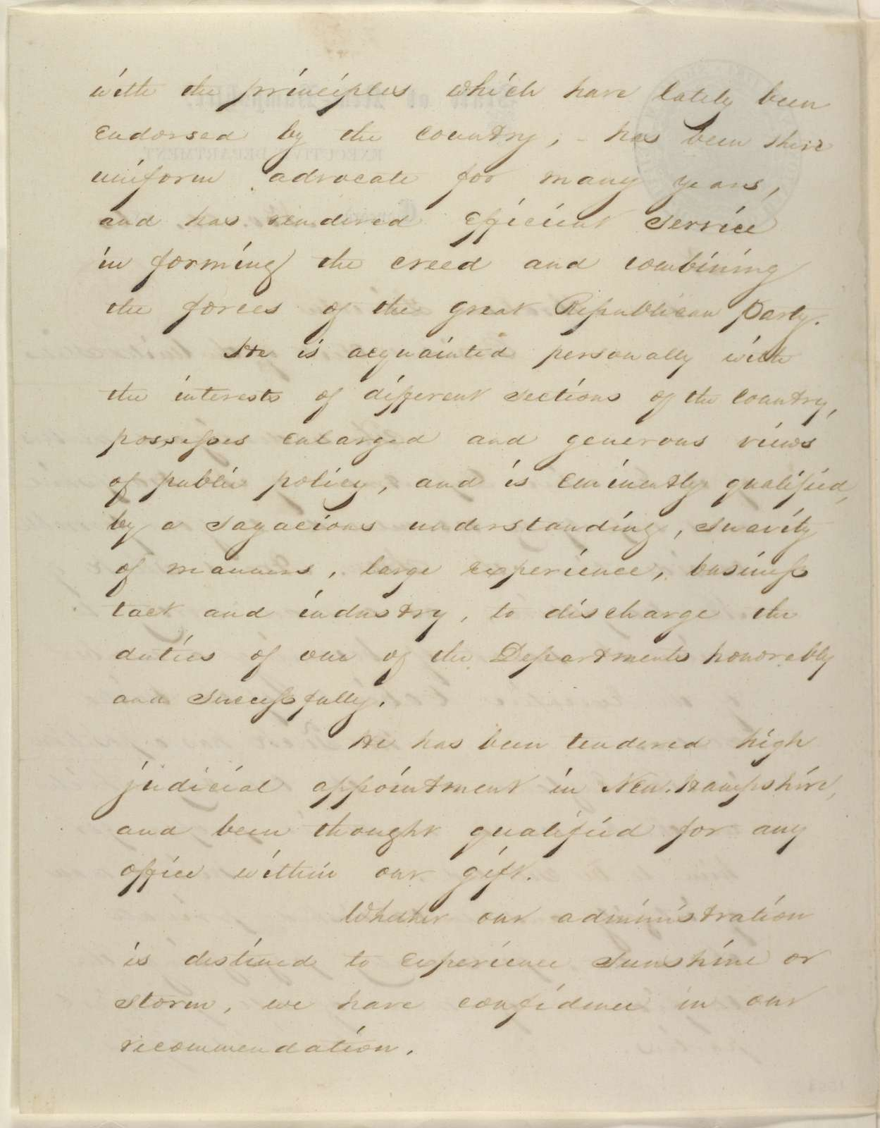 Abraham Lincoln papers: Series 1. General Correspondence. 1833-1916: Ichabod Goodwin, et al. to Abraham Lincoln, Thursday, November 22, 1860 (New Hampshire Executive Dept. recommends Amos Tuck for cabinet)