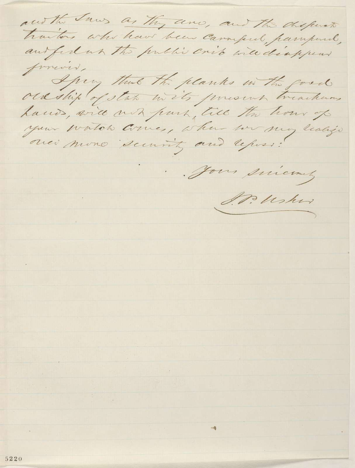 Abraham Lincoln papers: Series 1. General Correspondence. 1833-1916: John P. Usher to Abraham Lincoln, Wednesday, December 19, 1860 (Recommends Caleb Smith)
