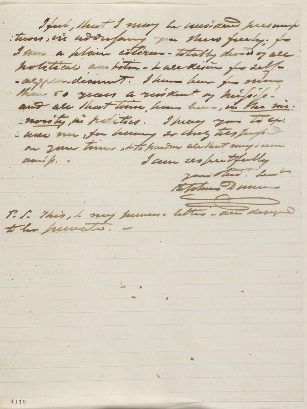 Abraham Lincoln papers: Series 1. General Correspondence. 1833-1916: Stephen Dunn to Abraham Lincoln, Wednesday, October 24, 1860 (Cabinet appointments)