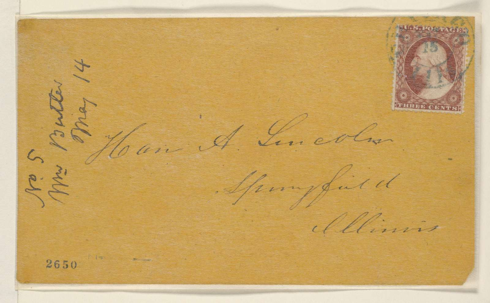 Abraham Lincoln papers: Series 1. General Correspondence. 1833-1916: William Butler to Abraham Lincoln, Monday, May 14, 1860 (Chicago convention)