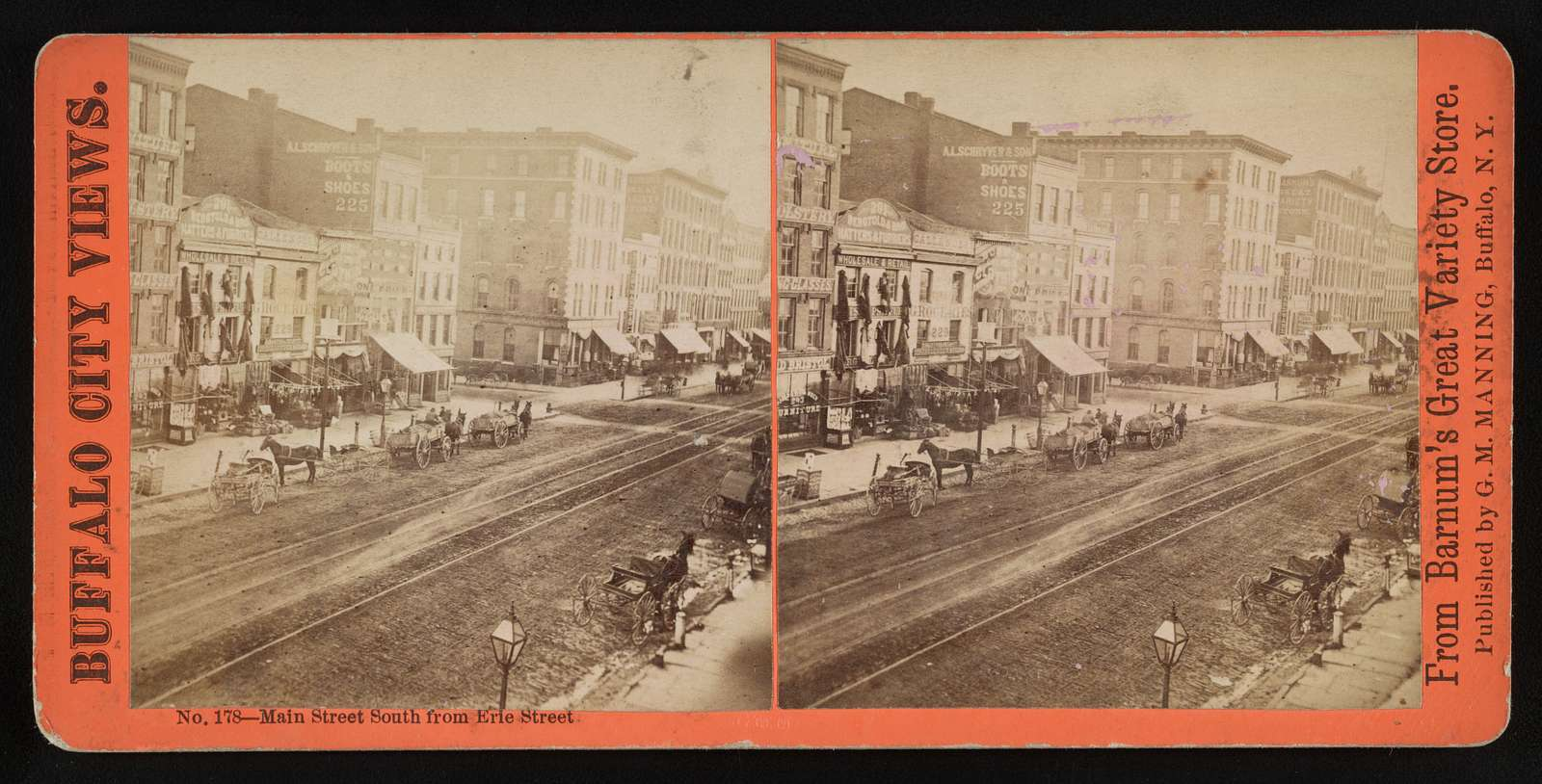 Main Street south from Erie Street published by G. M. Manning, Buffalo, N.Y