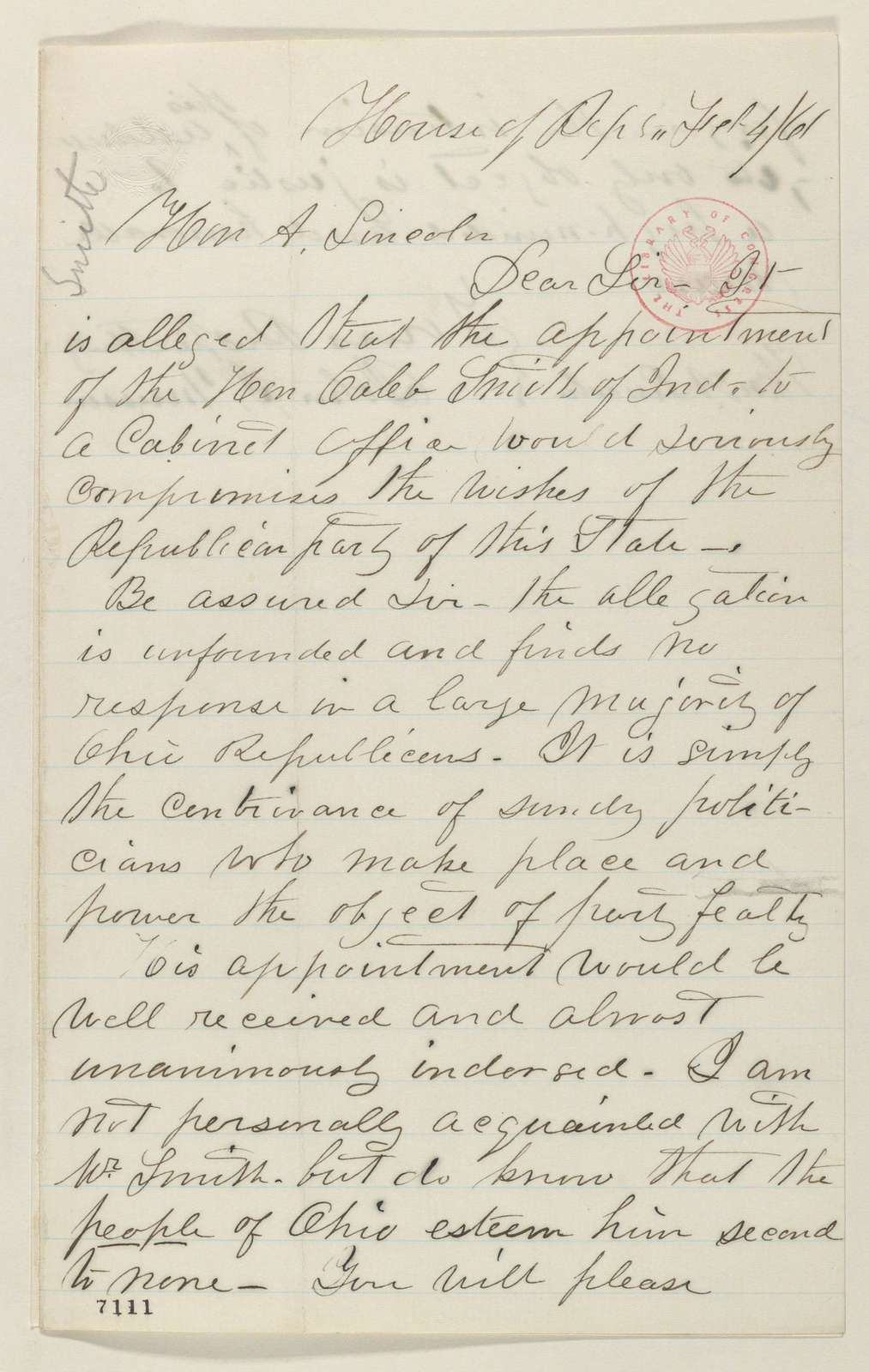 Abraham Lincoln papers: Series 1. General Correspondence. 1833-1916: John J. Musson to Abraham Lincoln, Monday, February 04, 1861 (Recommends Caleb Smith for cabinet)