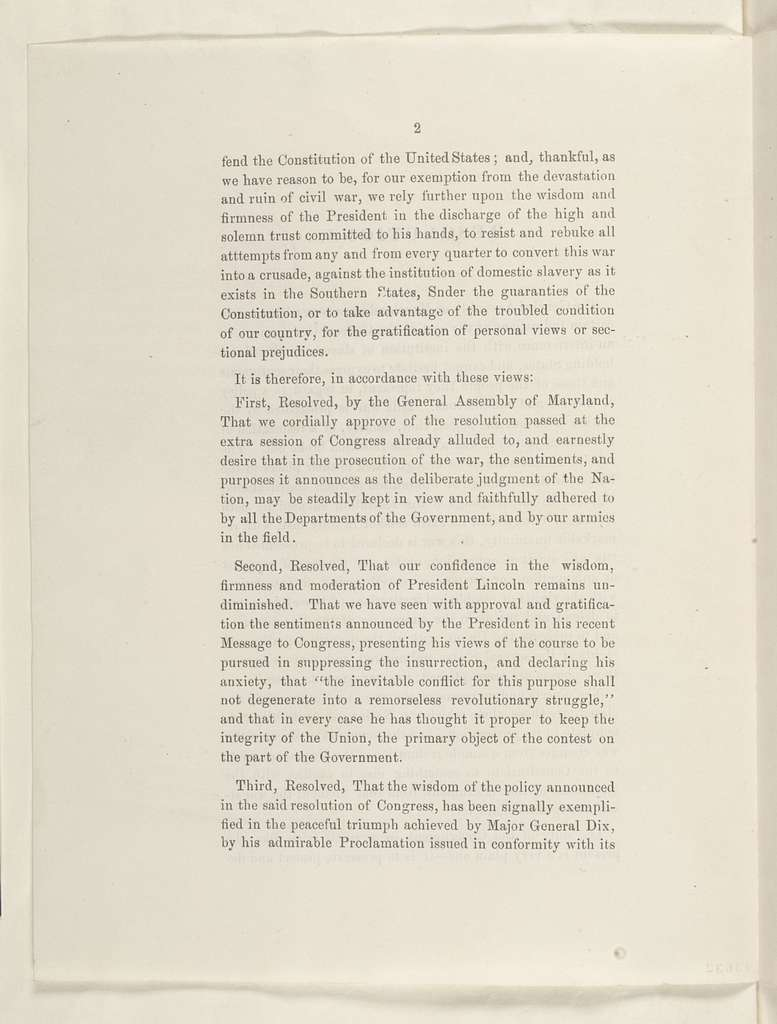 Abraham Lincoln papers: Series 1. General Correspondence. 1833-1916: Maryland Legislature, December 1861 (Printed Resolutions)