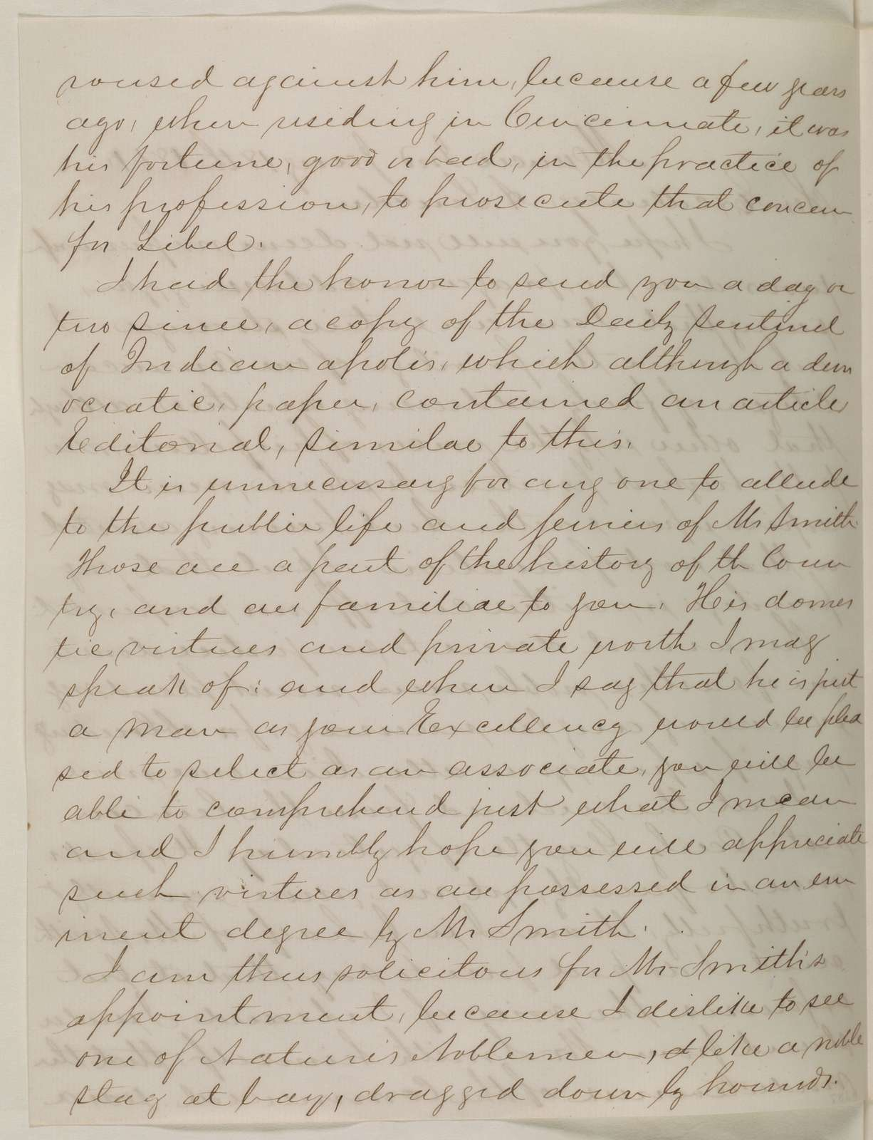 Abraham Lincoln papers: Series 1. General Correspondence. 1833-1916: Thomas J. Sample to Abraham Lincoln, Friday, January 18, 1861 (Recommends Caleb Smith)
