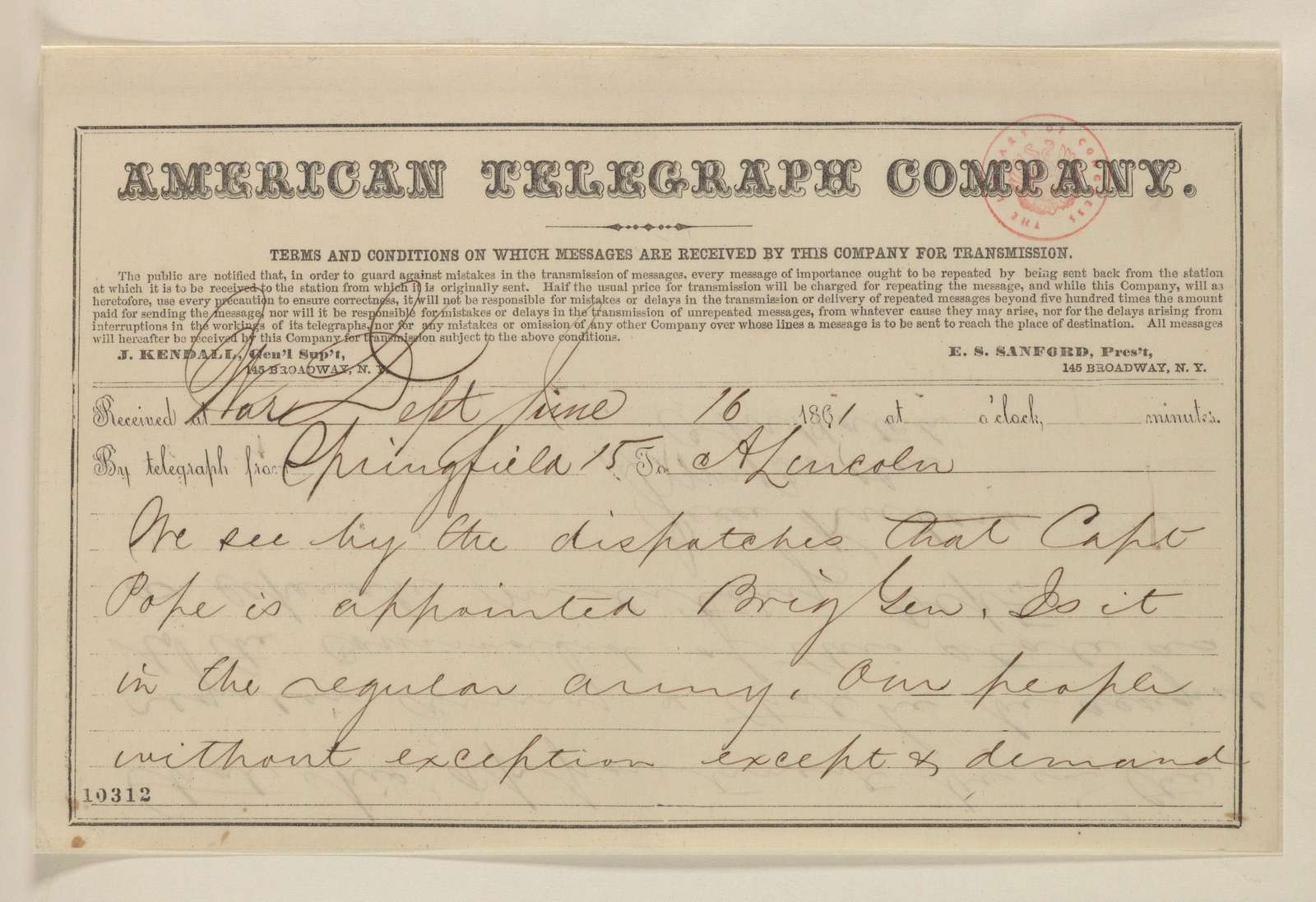 Abraham Lincoln papers: Series 1. General Correspondence. 1833-1916: William Butler, Jesse K. Dubois, and Ozias M. Hatch to Abraham Lincoln, Sunday, June 16, 1861 (Telegram regarding John Pope's promotion)