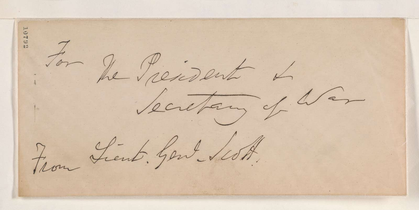 Abraham Lincoln papers: Series 1. General Correspondence. 1833-1916: Winfield Scott to Robert Patterson, Thursday, July 18, 1861 (Instructions)