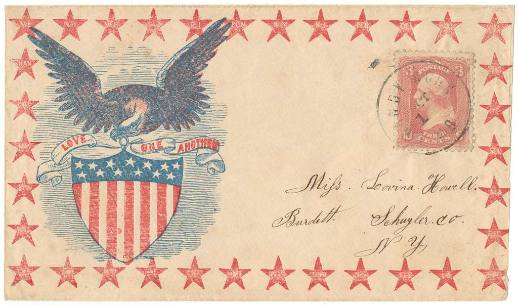 """Civil War envelope showing eagle atop shield with message """"Love one another"""" and border of stars with state names"""