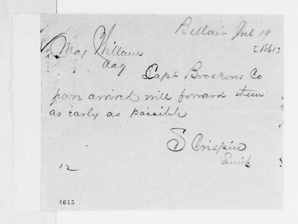 George Brinton McClellan Papers: Correspondence I, 1783-1888; 1861; July 18-20