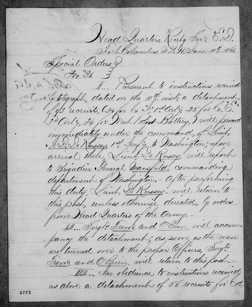 George Brinton McClellan Papers: Correspondence I, 1783-1888; 1861; June 1-21