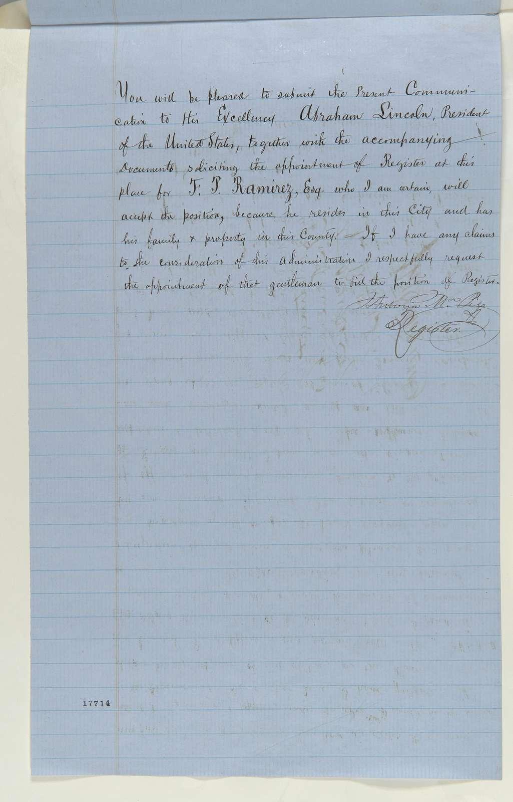 Abraham Lincoln papers: Series 1. General Correspondence. 1833-1916: Antonio Maria Pico to Caleb B. Smith, Saturday, August 16, 1862 (Resignation; endorsed by Caleb Smith)