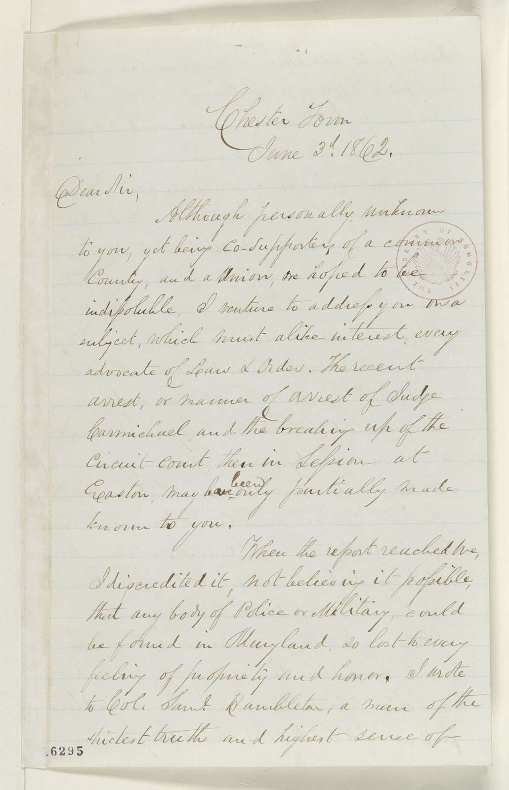 Abraham Lincoln papers: Series 1. General Correspondence. 1833-1916: George Vickers to William Price, Tuesday, June 03, 1862 (Arrests in Maryland)