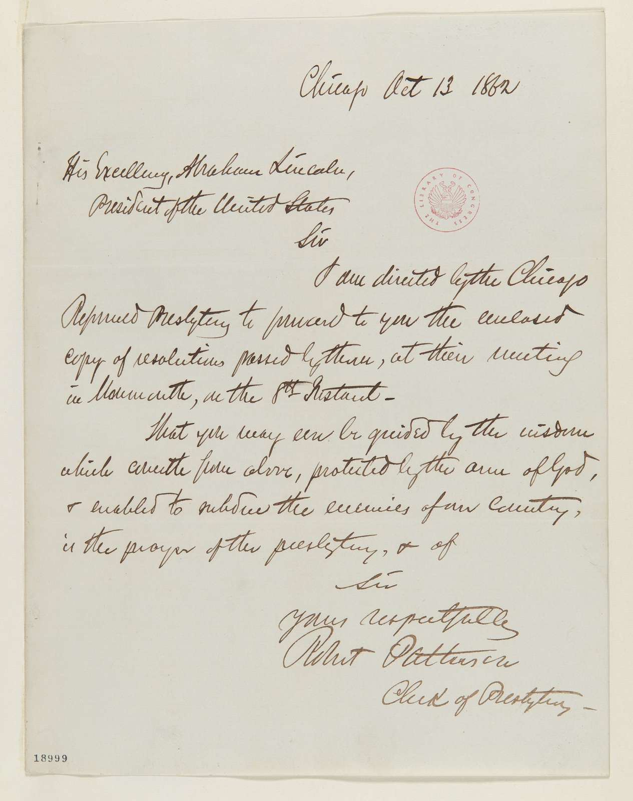 Abraham Lincoln papers: Series 1. General Correspondence. 1833-1916: Robert Patterson to Abraham Lincoln, Monday, October 13, 1862 (Sends resolutions)