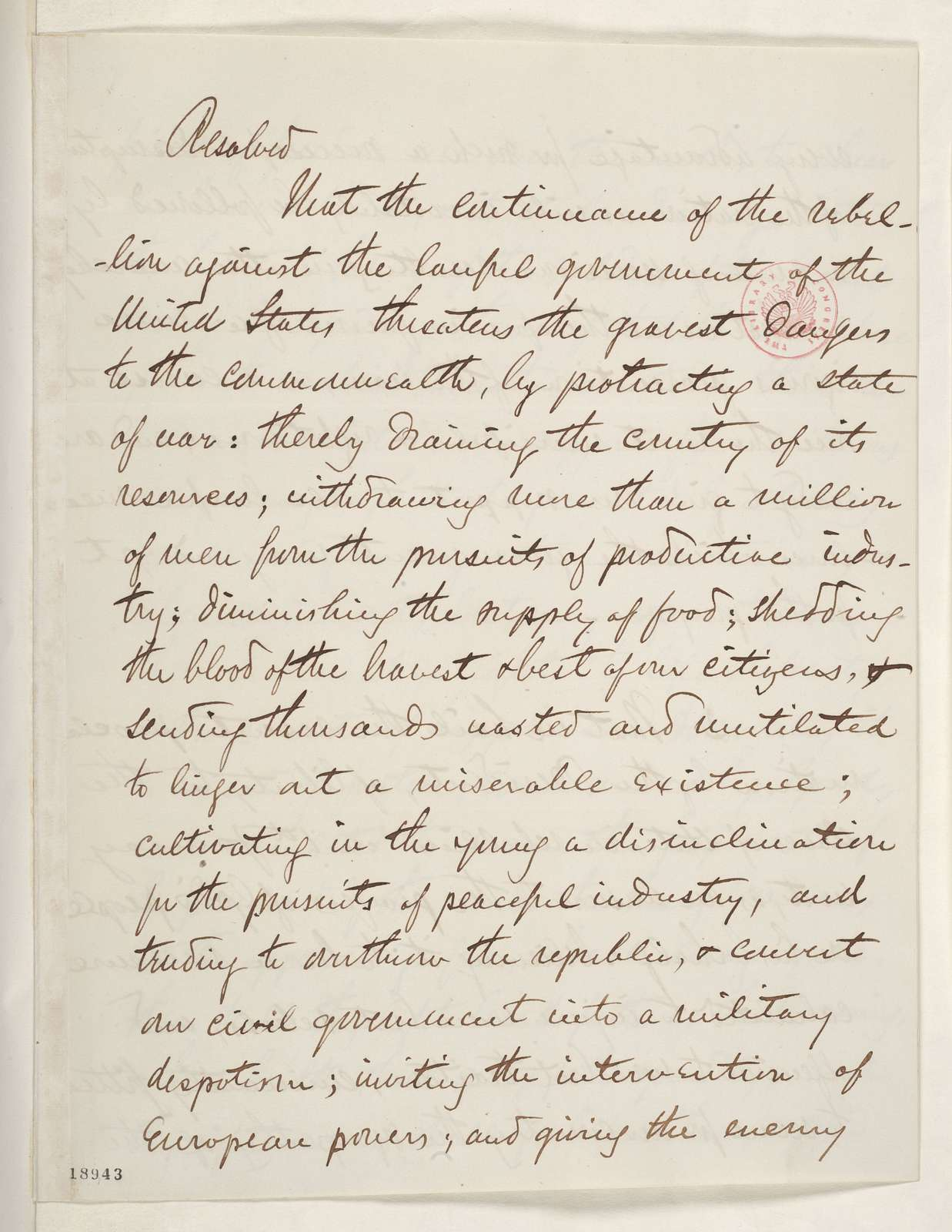 Abraham Lincoln papers: Series 1. General Correspondence. 1833-1916: Robert Patterson to Abraham Lincoln, Wednesday, October 08, 1862 (Sends resolutions concerning Emancipation Proclamation from ministers of Chicago Reformed Presbytery)