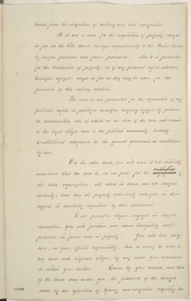Abraham Lincoln papers: Series 1. General Correspondence. 1833-1916: Unknown, Tuesday, April 01, 1862 (Proposal for a General Order)