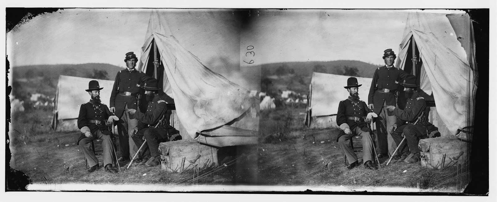 Antietam, Md. Col. John S. Crocker, Lt. Col. Benjamin C. Butler, and adjutant of 93d New York Volunteers