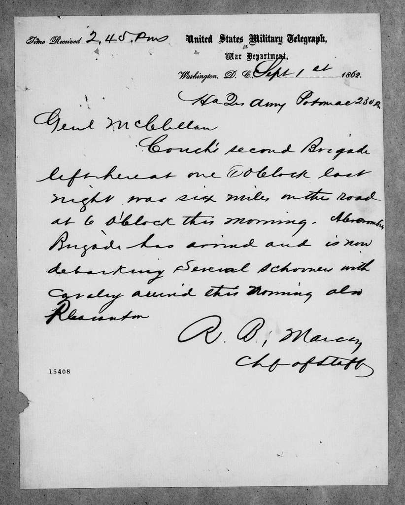 George Brinton McClellan Papers: Correspondence I, 1783-1888; 1862; Sept. 1-4