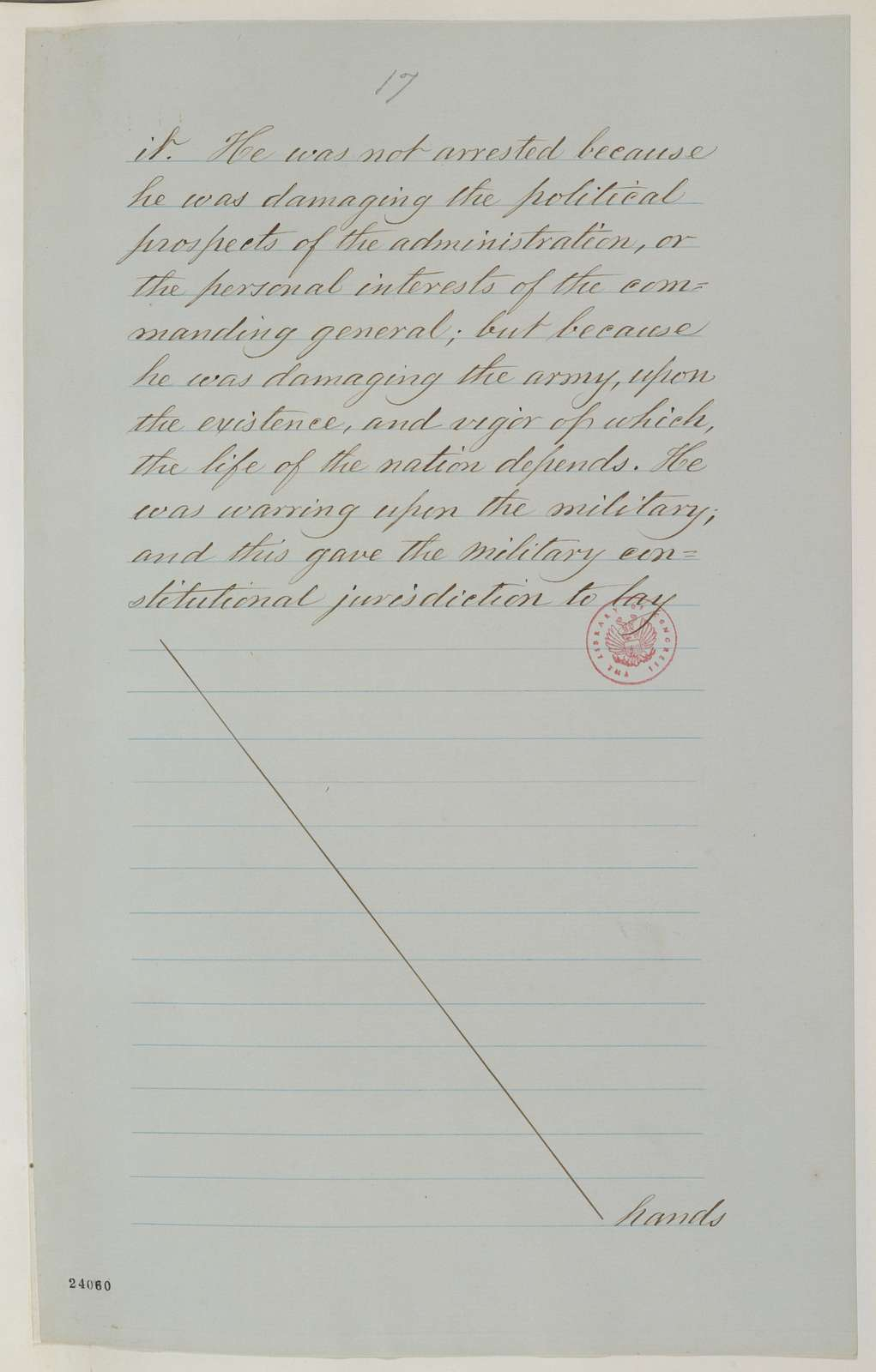 Abraham Lincoln papers: Series 1. General Correspondence. 1833-1916: Abraham Lincoln to Erastus Corning and Others, June 1863 (Copy No. 2 of Lincoln's reply to resolutions concerning military arrests and suspension of habeas corpus)